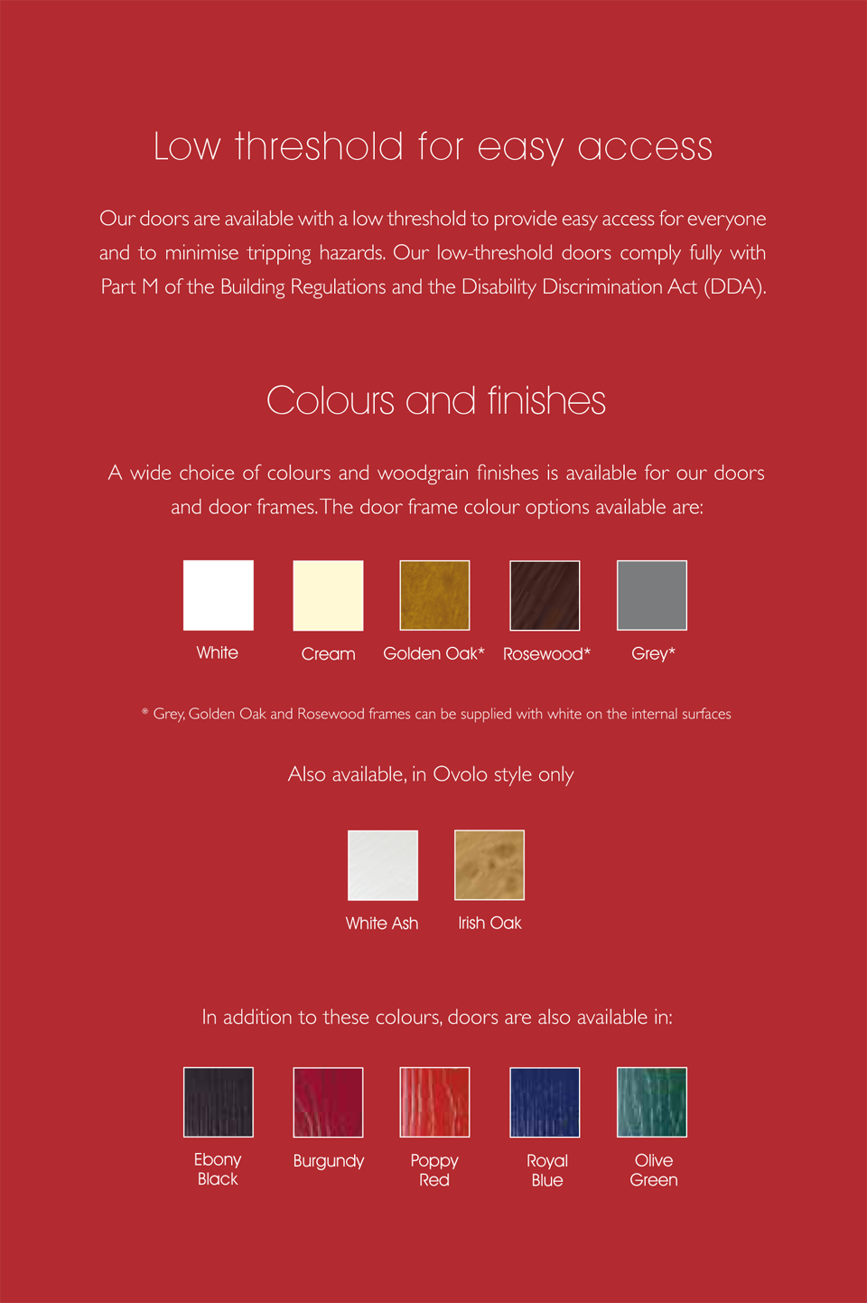 Door Colours and Finishes